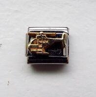 Raised gold metal helicopter 9mm stainless steel italian charm bracelet link