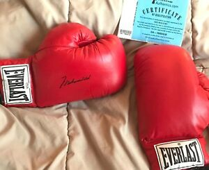 AUTHENTIC MUHAMMAD ALI SIGNED GLOVE SET REAL LEATHER GLOVES ONLINE AUTHENTICS