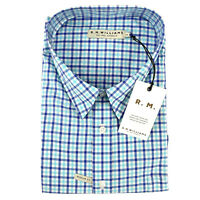 RM Williams Mens Hervey Short Sleeve Size 3XB Blue And White Check NEW