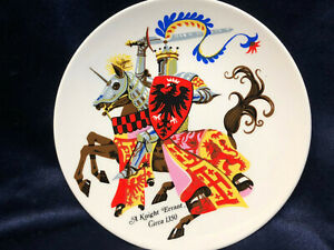 "POOLE POTTERY ENGLAND A KNIGHT ERRANT CIRCA 1350 PLATE 6"" KNIGHT ON HORSE ARMOR"