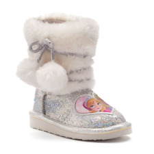 NWT-DISNEY FROZEN ELSA AND ANNA  GIRLS BOOTS SILVER (10) $50