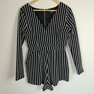 ValleyGirl Size 10 Long Sleeve Playsuit Romper Black White Striped - HS89