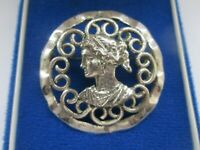 Vintage Silver Tone Grecian Victorian Lady Fluted Edged Brooch Pin