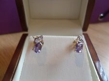 9ct Yellow Gold Amethyst and Diamond Earrings--  NWOT