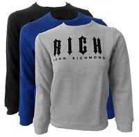 Felpa maglia Jhon Richmond sweatshirt girocollo sweater scritta nera ong sleeves