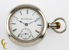Silveroid Elgin Antique Open Face Pocket Watch Grade 96 Size 18 7 Jewel