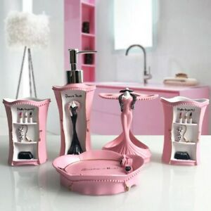 Pink Bath Resin Set Accessories Soap Dispenser Dish Tumbler Toothbrush Holder