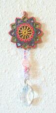 Wooden Geometric FLOWER Pink Suncatcher CHANDELIER Teardrop CRYSTAL 2 X 6 inches