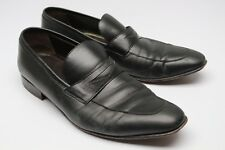 A Testoni Basic Penny Loafers 9.5 Black Leather Apron Toe Slim On Shoes Used