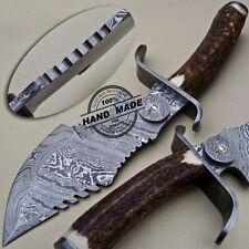 Hermosos personalizado hecho a mano cuchillo machete Rastreador De Caza De Acero Damasco Con Stag