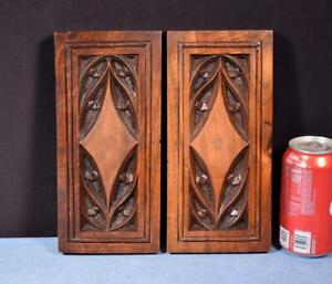 *Pair of Gothic Carved Architectural Panels in Solid Walnut Wood Salvage
