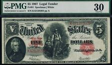 Fr. 91 1907 $5 Legal Tender PMG 30