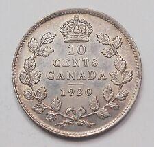 1920 Ten Cents EF-AU ** HIGH Grade FLASHY Early King George V Silver Canada Dime
