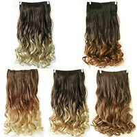 EG_ Women 24inch Clip in Long Curly Wave Synthetic Ombre Hair Extensions Conveni