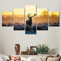 5Pcs Deer Modern Art Oil Paintings Canvas Print Home Wall Unframed Picture Decor
