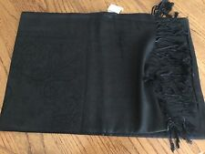 "BLACK ON BLACK SCARF / SHAWL WITH DESIGNS - LONG - 74"" X 28"" - NEW WITH TAGS"