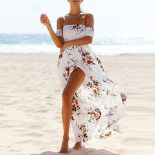New Women Summer Floral Chiffon Long Dress Off Shoulder Party Beach Dress Платье