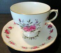VINTAGE QUEEN ANNE PORCELAIN TEA CUP & SAUCER, Pink Rose Garland