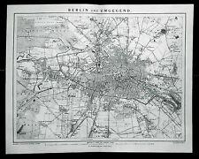 1894.Originale - Mappa Geo-Topografica Colori_BERLINO E DINTORNI.Brockhaus..