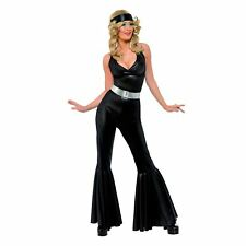 Adult Ladies 70s Disco Dancing Diva Catsuit Jumpsuit Flares Fancy Dress Costume