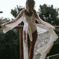 Womens Summer Beach Lace Boho Bikini Cover Up Kimono Cardigan Blouse Long Coat