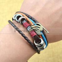 Anime Fairy Tail Leather Bracelet Muti-Layer Bangel Cuff Cosplay Unisex US SHIP