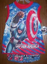 Captain AMERICA Blue/Red Pajamas Boys 8 NeW Marvel Shirt Shorts Pjs NWT Avengers