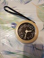 """Vintage BULOVA Wind Up Travel Table Alarm Clock Wristlet 3.5"""""""