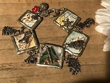 Recycled Broken Porcelain Jewelry, Holiday Christmas w/Applied Charms Bracelet