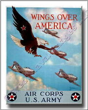 Vintage Print Wings Over America Air Corps US Army Canvas Print 2D