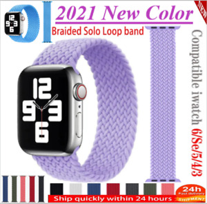 New 2021 braided Solo Loop Strap For Apple Watch band 44mm 40mm 38mm 42mm