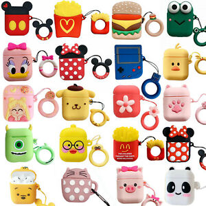 3D Cute Cartoon Silicone Charging Case Cover Skin Protective For AirPods 1/2