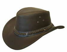 LEATHER HAT AUSSIE BUSH COWBOY STYLE Classic Western Outback Brown/Black