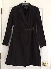 Banana Republic Woman's Belted Lined Coat - Black with Gold Sheen - Large
