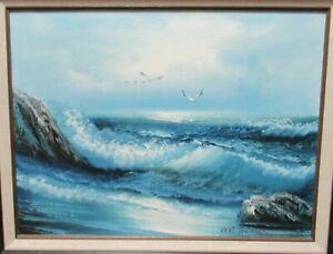 KARL NEUMANN ORIGINAL OIL ON CANVAS BIRDS WAVES SEASCAPE PAINTING