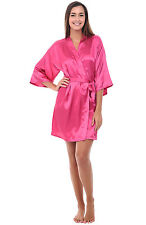 Alexander Del Rossa Womens Satin Robe, Mid-Length Dressing Gown SM