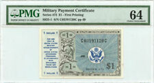 Military Payment Certificate Series 472 $1 First Printing PMG Choice UNC 64