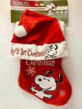 Peanuts Snoopy Baby 1st Christmas Stocking And Hat Set