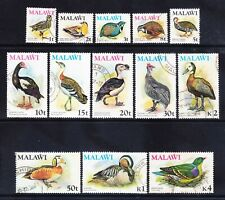 MALAWI 1975 SG473/85 set of 13 Birds - fine used, Catalogue £55