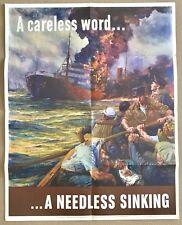 RARE ORIGINAL WWII 1942 OWI POSTER 24 A CARELESS WORD A NEEDLESS SINKING US GOVT