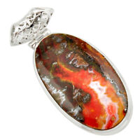 29.93cts Natural Brown Moroccan Seam Agate 925 Sterling Silver Pendant D42261