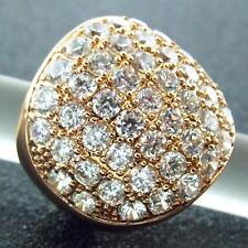 Ring Real 18k Rose G/F Gold Genuine Diamond Simulated Pave Ladies Design Sz 6