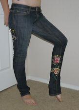 Ed Hardy LOVE KILLS SLOWLY Heart Skull Roses Womens Denim Skinny Jeans Sz 27 **