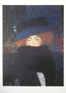 Signora con cappello e boa di piume - gustav Klimt print , 80x60cm, klimt poster