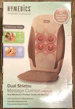 Homedics MCS-370HA Dual Shiatsu Massage Chair Cushion Heated Brown Tan Cream