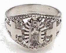 14k Real gold white V MARY Guadalupe cross manmade diamond ring 7.5 5 6 7 8 9 +