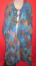 FANTAZIA Rare One of Kind Wool Patchwork Custom knit Sweater Coat XL satin lined