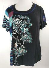 CJ Christopher & Banks T-Shirt Pocket Sleeve Women Size Medium Black Floral New