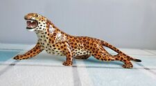 More details for rare vintage ronzan stalking leopard ceramic statue italy 1940's 14 inch 385/1