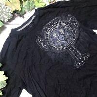 Marc Ecko Mens Black Gray Skull Cross Graphic Long Sleeve Shirt Size XL